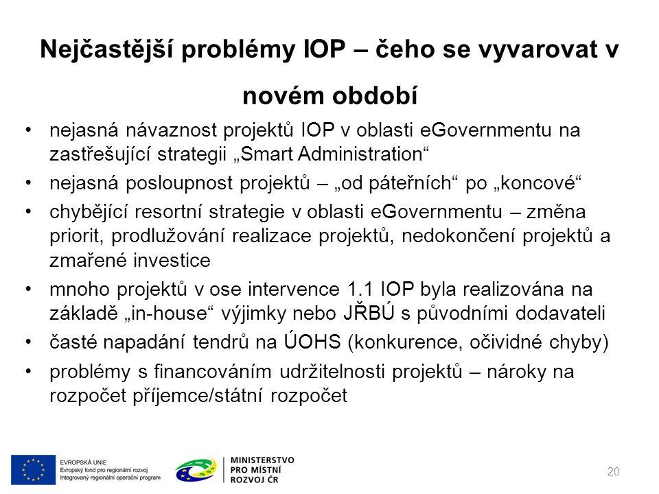 """nejasná návaznost projektů IOP v oblasti eGovernmentu na zastřešující strategii """"Smart Administration nejasná posloupnost projektů – """"od páteřních po """"koncové chybějící resortní strategie v oblasti eGovernmentu – změna priorit, prodlužování realizace projektů, nedokončení projektů a zmařené investice mnoho projektů v ose intervence 1.1 IOP byla realizována na základě """"in-house výjimky nebo JŘBÚ s původními dodavateli časté napadání tendrů na ÚOHS (konkurence, očividné chyby) problémy s financováním udržitelnosti projektů – nároky na rozpočet příjemce/státní rozpočet Nejčastější problémy IOP – čeho se vyvarovat v novém období 20"""
