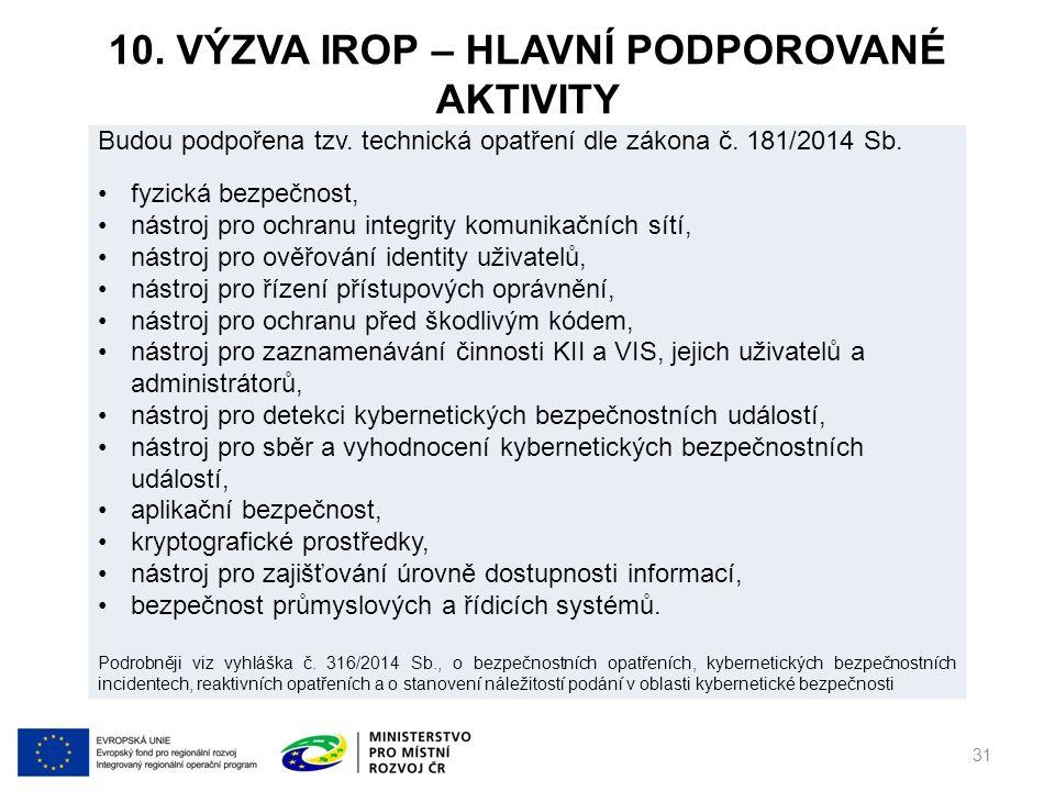 10. VÝZVA IROP – HLAVNÍ PODPOROVANÉ AKTIVITY 31 Budou podpořena tzv.