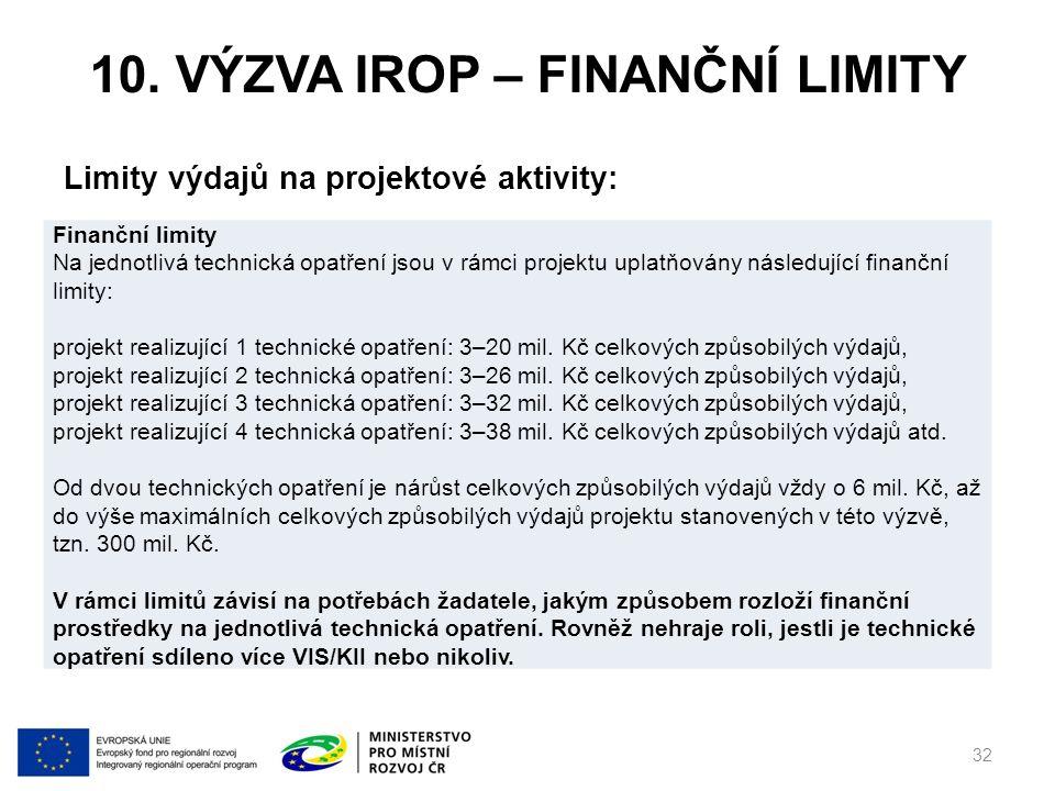10. VÝZVA IROP – FINANČNÍ LIMITY Limity výdajů na projektové aktivity: 32 Finanční limity Na jednotlivá technická opatření jsou v rámci projektu uplat