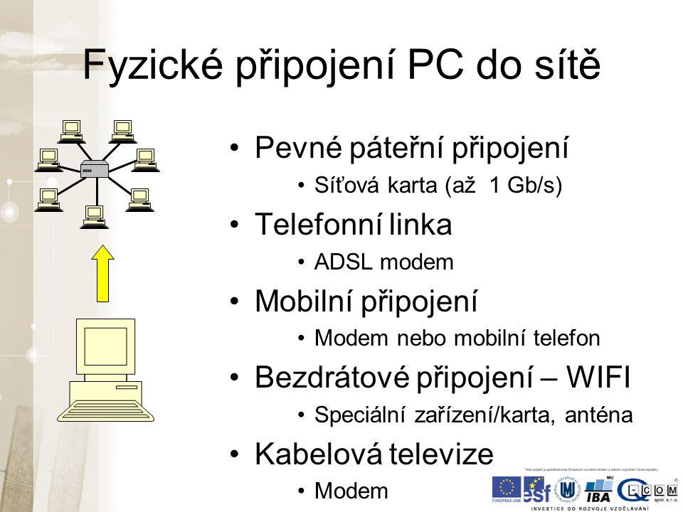 Fyzické připojení PC do sítě Pevné páteřní připojení Síťová karta (až 1 Gb/s) Telefonní linka ADSL modem Mobilní připojení Modem nebo mobilní telefon Bezdrátové připojení – WIFI Speciální zařízení/karta, anténa Kabelová televize Modem