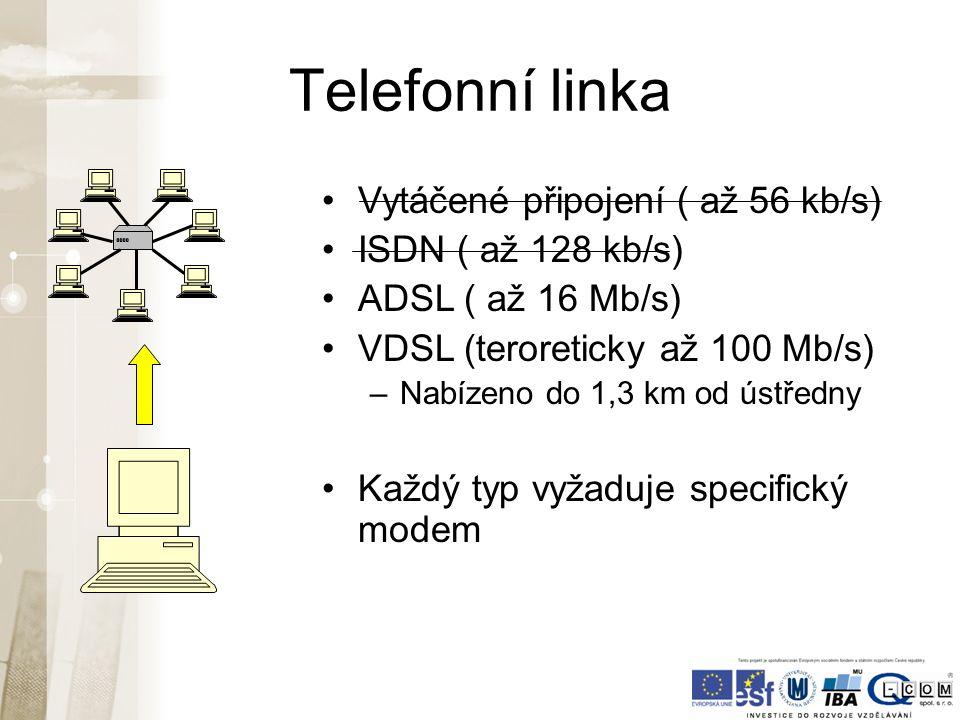 Telefonní linka Vytáčené připojení ( až 56 kb/s) ISDN ( až 128 kb/s) ADSL ( až 16 Mb/s) VDSL (teroreticky až 100 Mb/s) –Nabízeno do 1,3 km od ústředny Každý typ vyžaduje specifický modem