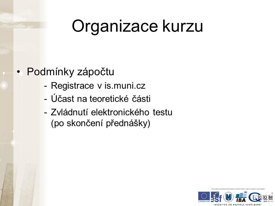 Organizace kurzu Podmínky zápočtu -Registrace v is.muni.cz -Účast na teoretické části -Zvládnutí elektronického testu (po skončení přednášky)
