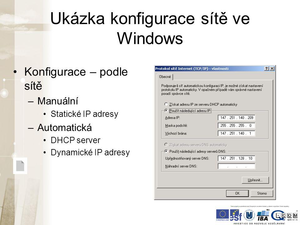 Ukázka konfigurace sítě ve Windows Konfigurace – podle sítě –Manuální Statické IP adresy –Automatická DHCP server Dynamické IP adresy