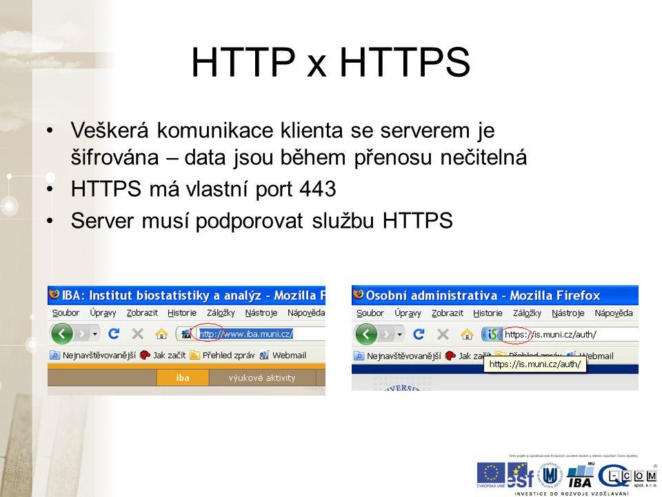 HTTP x HTTPS Veškerá komunikace klienta se serverem je šifrována – data jsou během přenosu nečitelná HTTPS má vlastní port 443 Server musí podporovat službu HTTPS