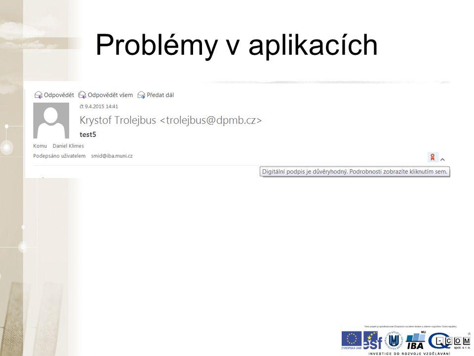 Problémy v aplikacích