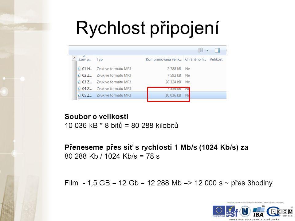 Rychlost připojení Soubor o velikosti 10 036 kB * 8 bitů = 80 288 kilobitů Přeneseme přes síť s rychlostí 1 Mb/s (1024 Kb/s) za 80 288 Kb / 1024 Kb/s = 78 s Film - 1,5 GB = 12 Gb = 12 288 Mb => 12 000 s ~ přes 3hodiny