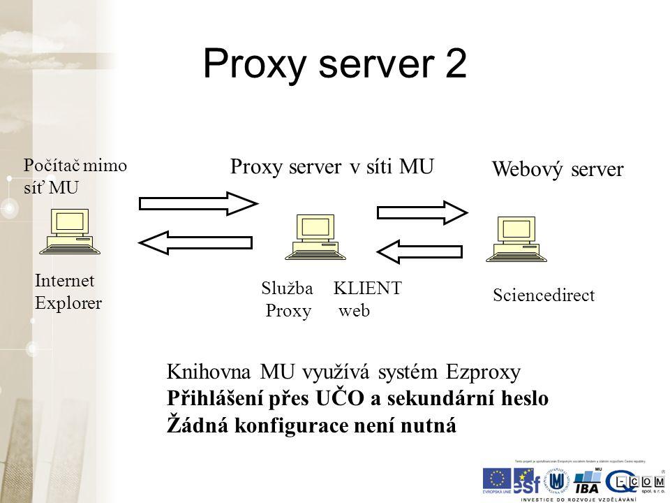 Proxy server 2 Internet Explorer Služba Proxy Sciencedirect KLIENT web Počítač mimo síť MU Proxy server v síti MU Webový server Knihovna MU využívá sy