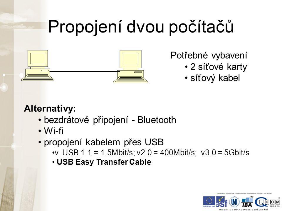 Propojení více PC - síť historický způsob topologie kruh současný způsob topologie hvězda Hub/Switch (přepínač)