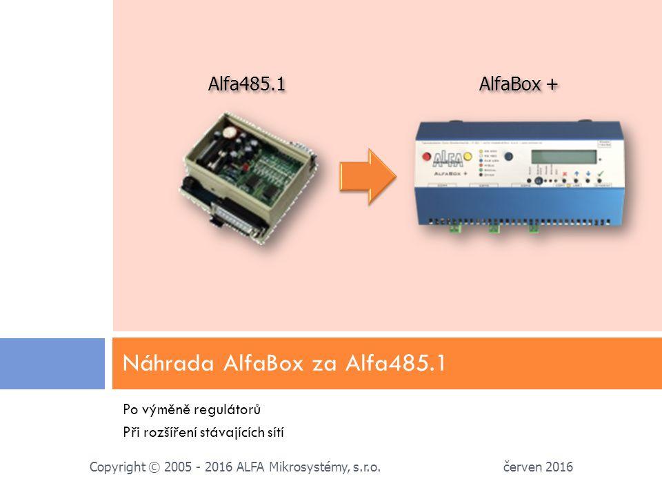 Po výměně regulátorů Při rozšíření stávajících sítí Náhrada AlfaBox za Alfa485.1 červen 2016 Copyright © 2005 - 2016 ALFA Mikrosystémy, s.r.o.