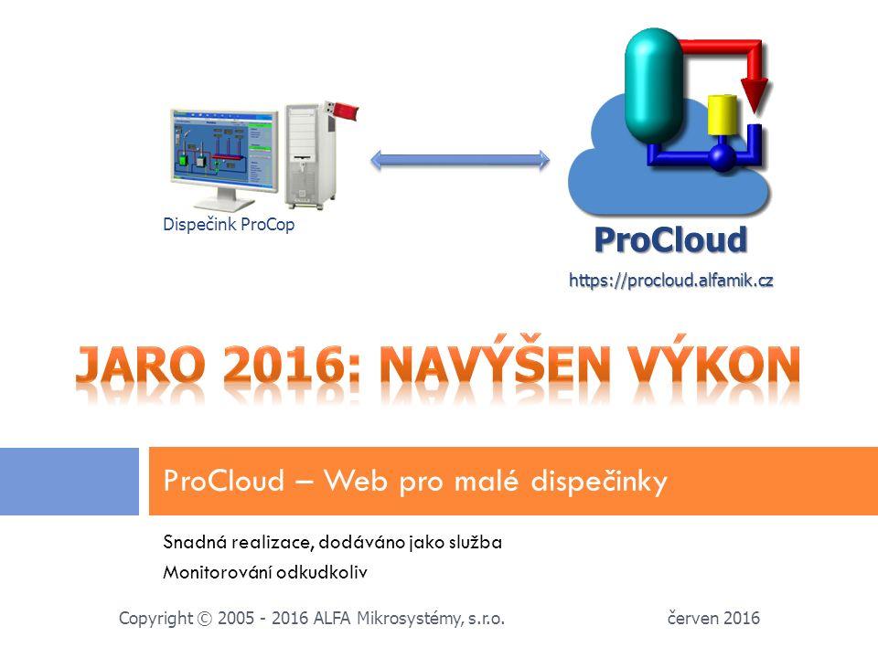 Snadná realizace, dodáváno jako služba Monitorování odkudkoliv ProCloud – Web pro malé dispečinky červen 2016 Copyright © 2005 - 2016 ALFA Mikrosystémy, s.r.o.