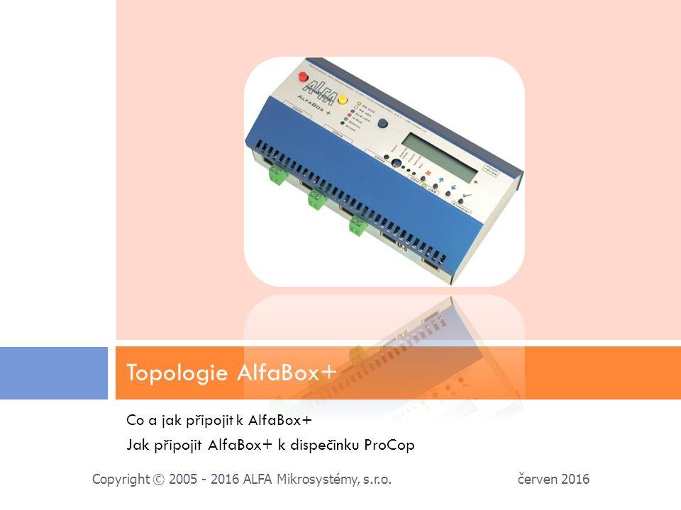 Co a jak připojit k AlfaBox+ Jak připojit AlfaBox+ k dispečinku ProCop Topologie AlfaBox+ červen 2016 Copyright © 2005 - 2016 ALFA Mikrosystémy, s.r.o.