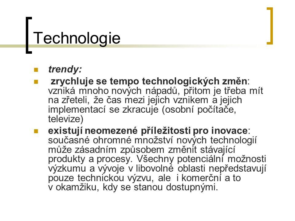 Technologie trendy: zrychluje se tempo technologických změn: vzniká mnoho nových nápadů, přitom je třeba mít na zřeteli, že čas mezi jejich vznikem a jejich implementací se zkracuje (osobní počítače, televize) existují neomezené příležitosti pro inovace: současné ohromné množství nových technologií může zásadním způsobem změnit stávající produkty a procesy.