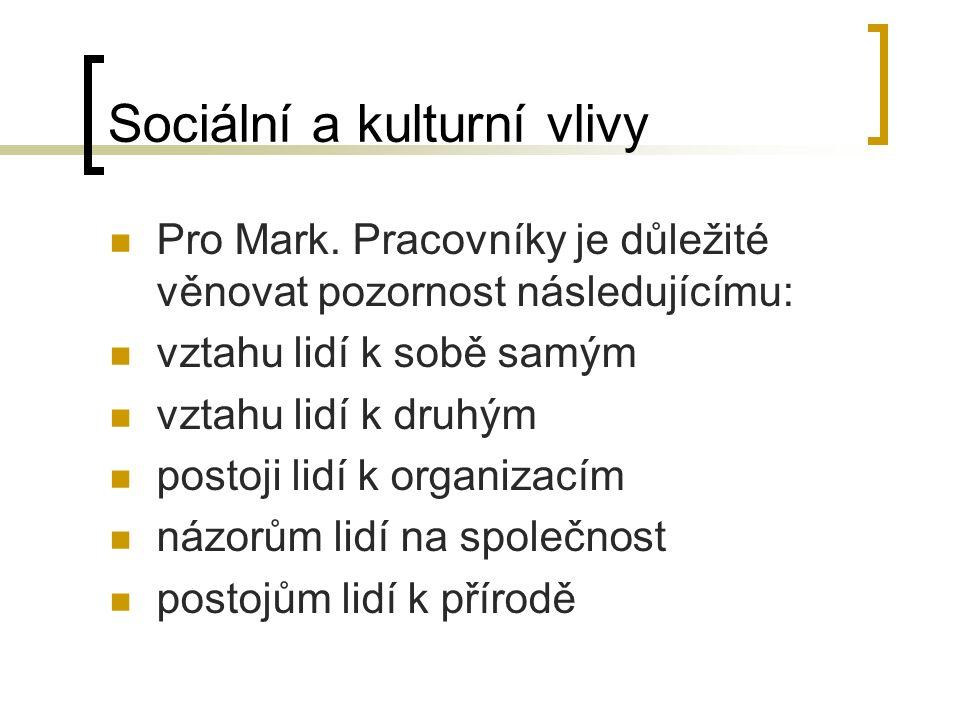 Sociální a kulturní vlivy Pro Mark.