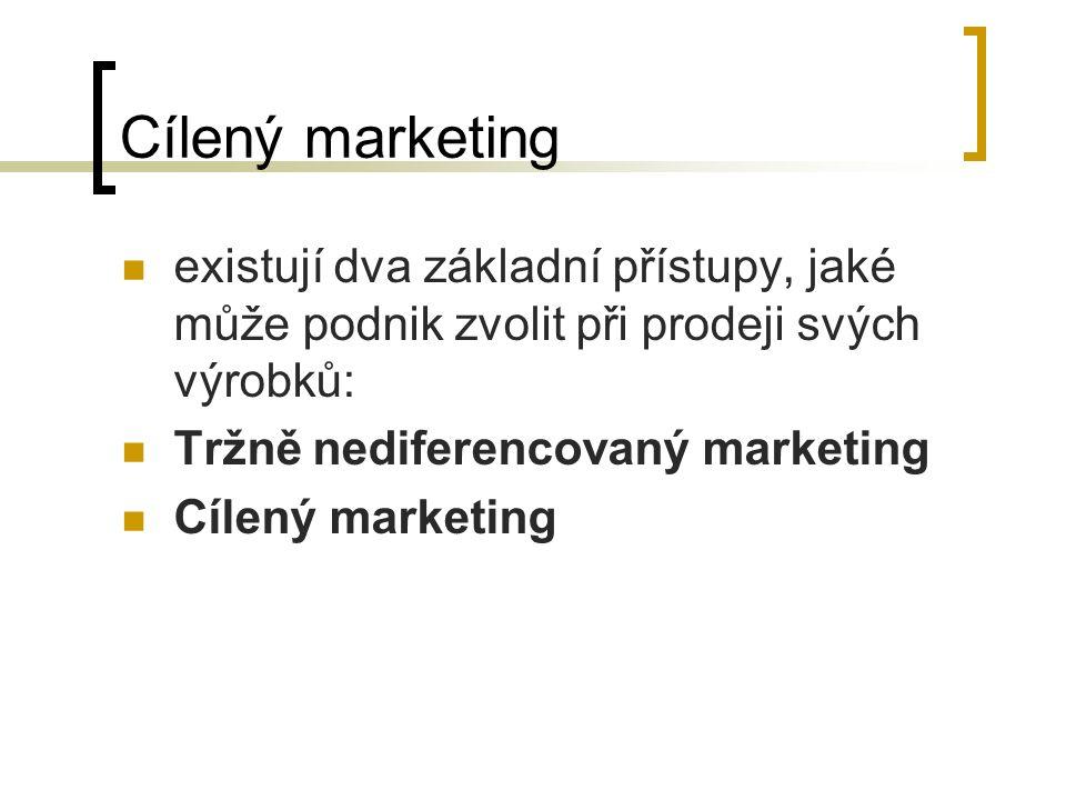 Cílený marketing existují dva základní přístupy, jaké může podnik zvolit při prodeji svých výrobků: Tržně nediferencovaný marketing Cílený marketing