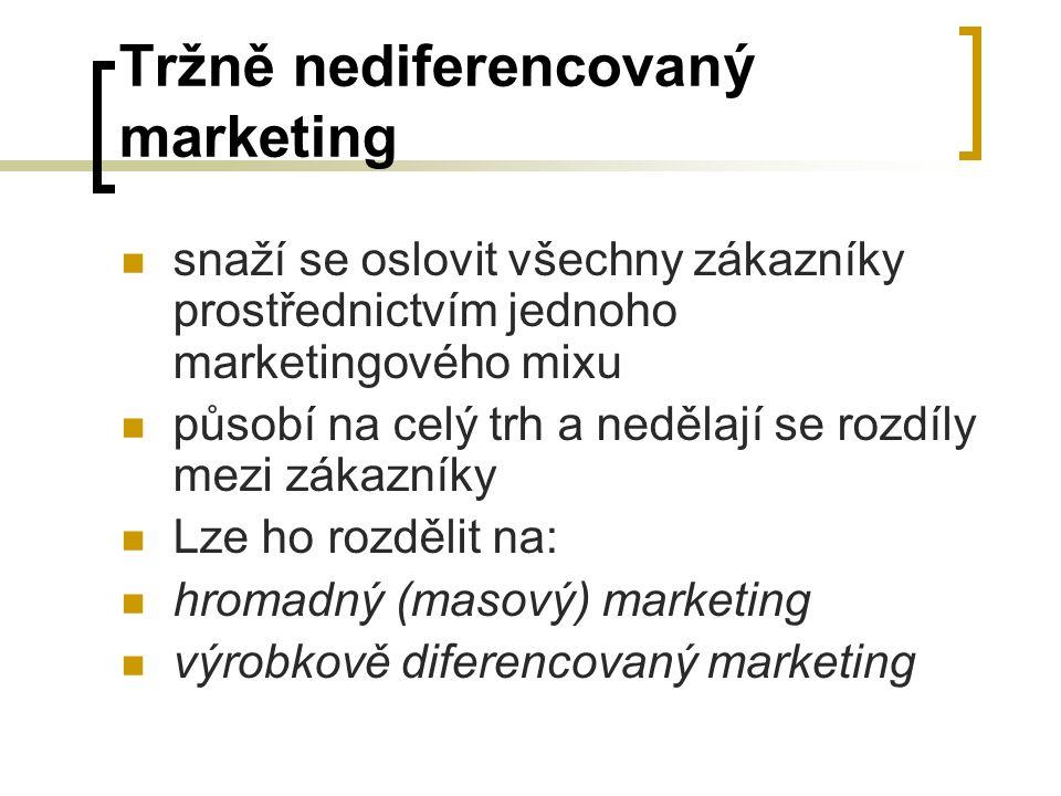 Tržně nediferencovaný marketing snaží se oslovit všechny zákazníky prostřednictvím jednoho marketingového mixu působí na celý trh a nedělají se rozdíly mezi zákazníky Lze ho rozdělit na: hromadný (masový) marketing výrobkově diferencovaný marketing