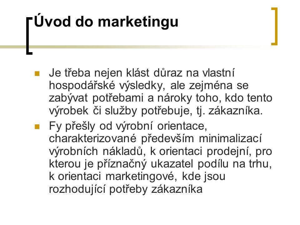 Úvod do marketingu Je třeba nejen klást důraz na vlastní hospodářské výsledky, ale zejména se zabývat potřebami a nároky toho, kdo tento výrobek či služby potřebuje, tj.