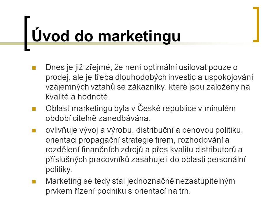Úvod do marketingu Dnes je již zřejmé, že není optimální usilovat pouze o prodej, ale je třeba dlouhodobých investic a uspokojování vzájemných vztahů se zákazníky, které jsou založeny na kvalitě a hodnotě.
