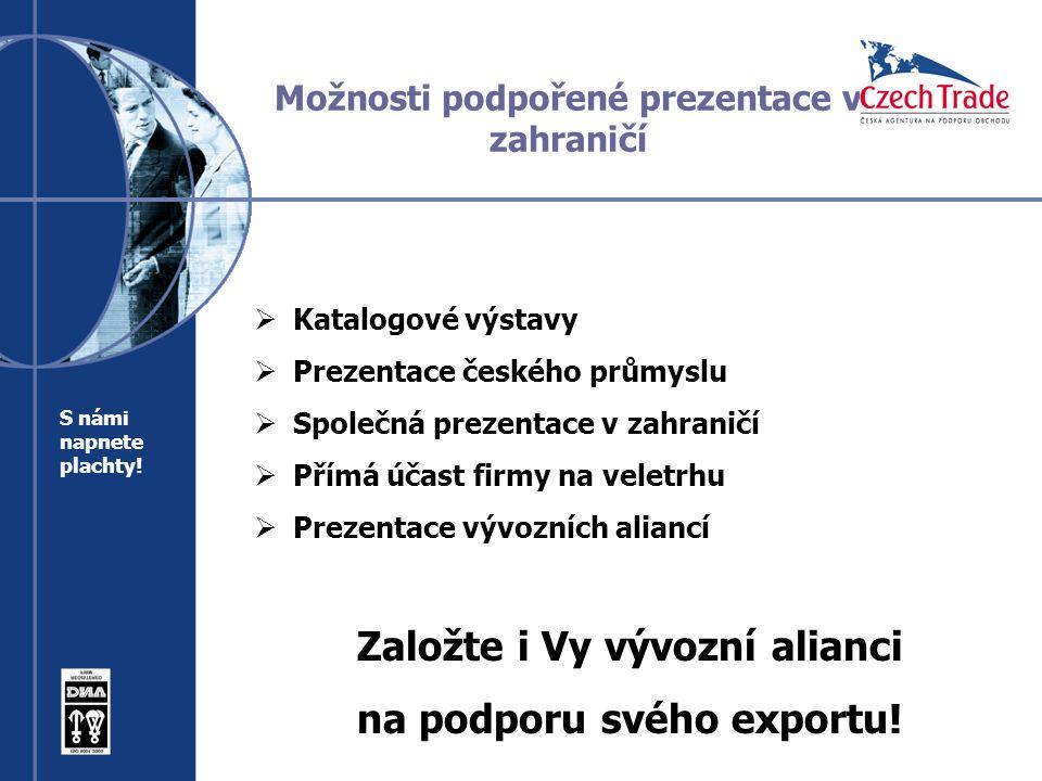 Možnosti podpořené prezentace v zahraničí  Katalogové výstavy  Prezentace českého průmyslu  Společná prezentace v zahraničí  Přímá účast firmy na veletrhu  Prezentace vývozních aliancí Založte i Vy vývozní alianci na podporu svého exportu.