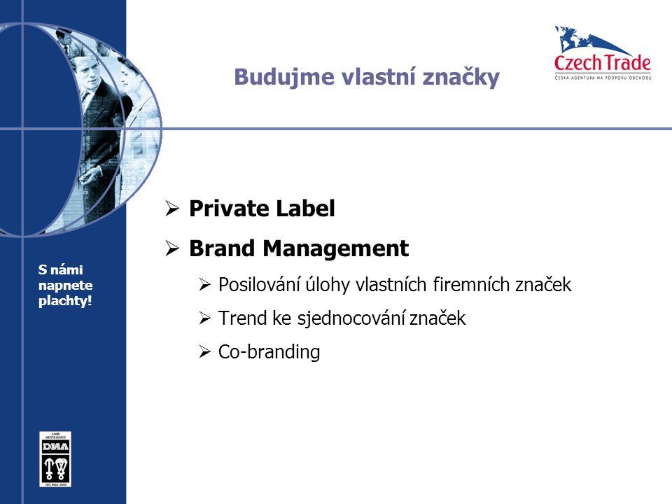 Budujme vlastní značky  Private Label  Brand Management  Posilování úlohy vlastních firemních značek  Trend ke sjednocování značek  Co-branding S námi napnete plachty!