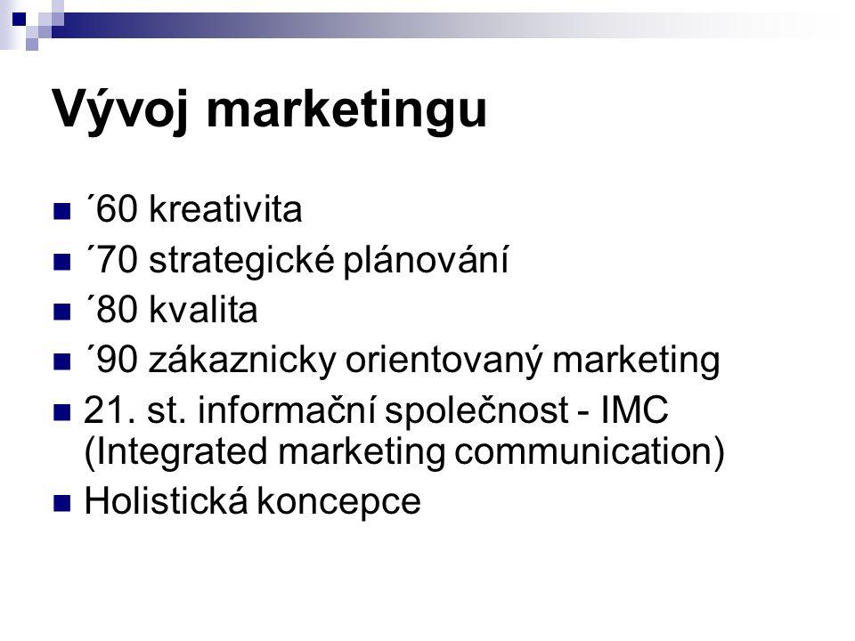 Vývoj marketingu ´60 kreativita ´70 strategické plánování ´80 kvalita ´90 zákaznicky orientovaný marketing 21.