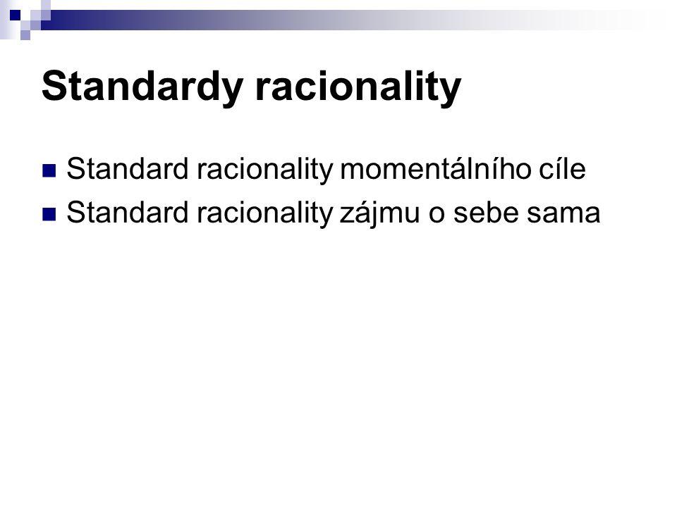 Standardy racionality Standard racionality momentálního cíle Standard racionality zájmu o sebe sama