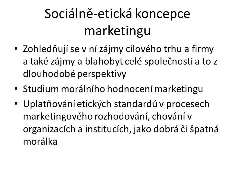 Sociálně-etická koncepce marketingu Zohledňují se v ní zájmy cílového trhu a firmy a také zájmy a blahobyt celé společnosti a to z dlouhodobé perspektivy Studium morálního hodnocení marketingu Uplatňování etických standardů v procesech marketingového rozhodování, chování v organizacích a institucích, jako dobrá či špatná morálka