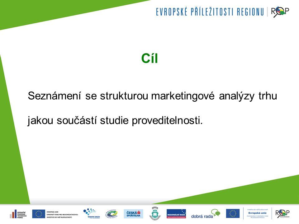 Cíl Seznámení se strukturou marketingové analýzy trhu jakou součástí studie proveditelnosti.