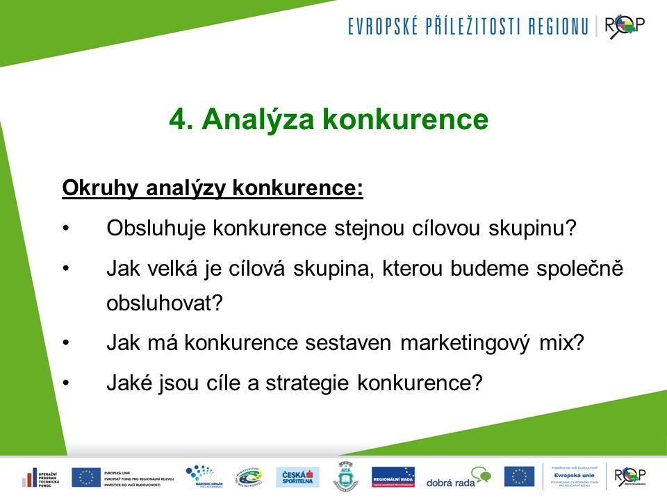 4. Analýza konkurence Okruhy analýzy konkurence: Obsluhuje konkurence stejnou cílovou skupinu.