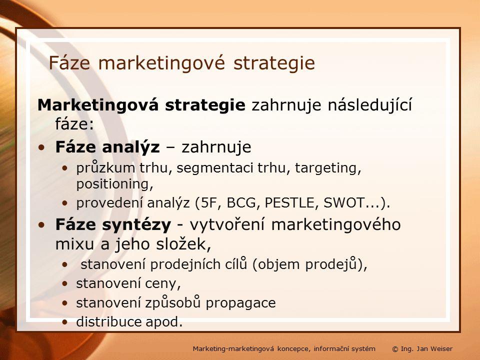 Fáze marketingové strategie Marketingová strategie zahrnuje následující fáze: Fáze analýz – zahrnuje průzkum trhu, segmentaci trhu, targeting, positioning, provedení analýz (5F, BCG, PESTLE, SWOT...).