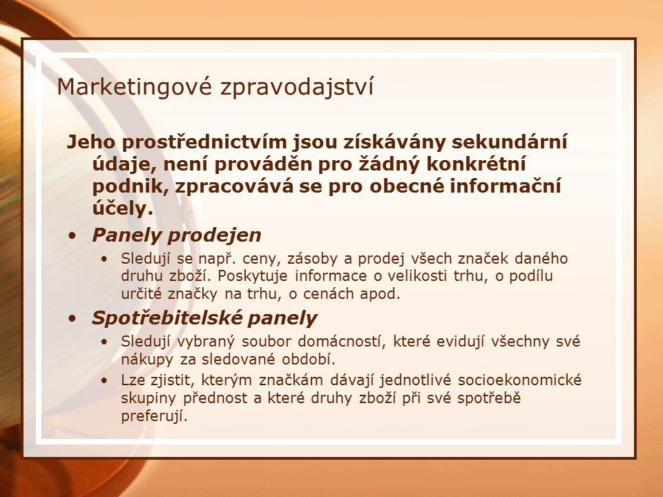 Marketingové zpravodajství Jeho prostřednictvím jsou získávány sekundární údaje, není prováděn pro žádný konkrétní podnik, zpracovává se pro obecné informační účely.
