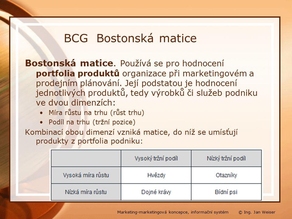 BCG Bostonská matice Bostonská matice.