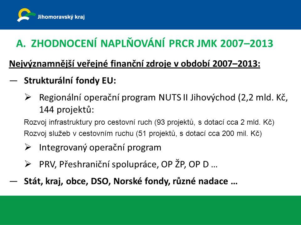 Nejvýznamnější veřejné finanční zdroje v období 2007–2013: —Strukturální fondy EU:  Regionální operační program NUTS II Jihovýchod (2,2 mld.