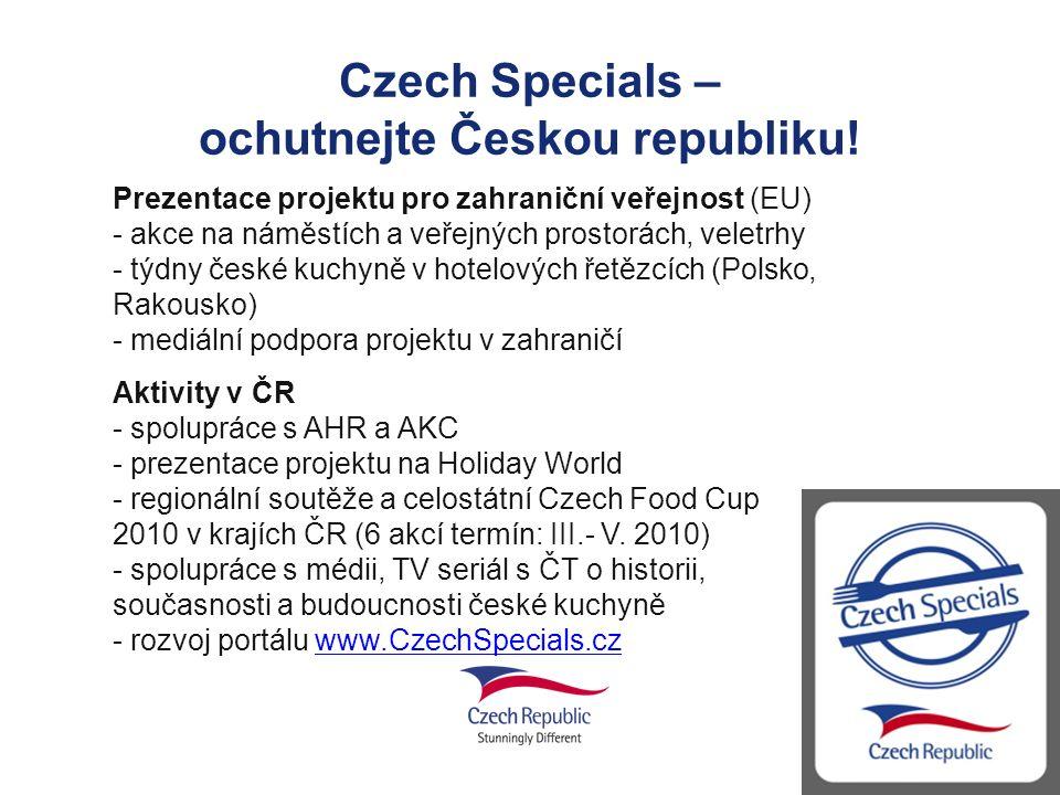 Czech Specials – ochutnejte Českou republiku! Prezentace projektu pro zahraniční veřejnost (EU) - akce na náměstích a veřejných prostorách, veletrhy -
