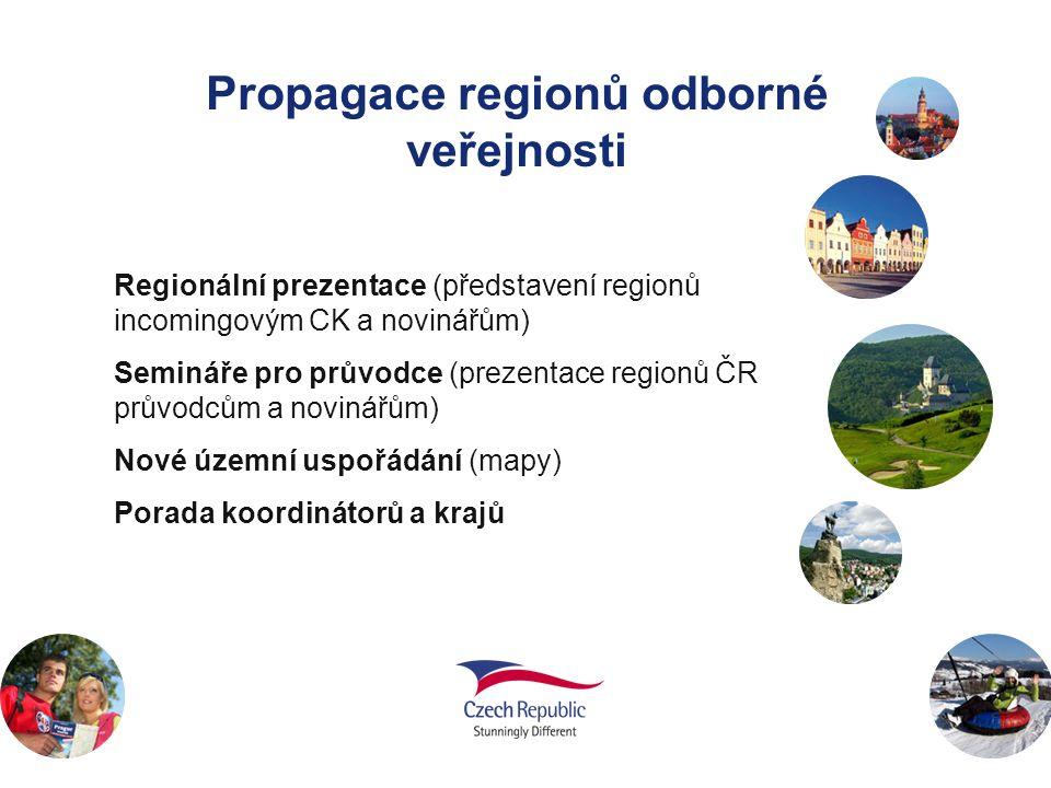 Propagace regionů odborné veřejnosti Regionální prezentace (představení regionů incomingovým CK a novinářům) Semináře pro průvodce (prezentace regionů