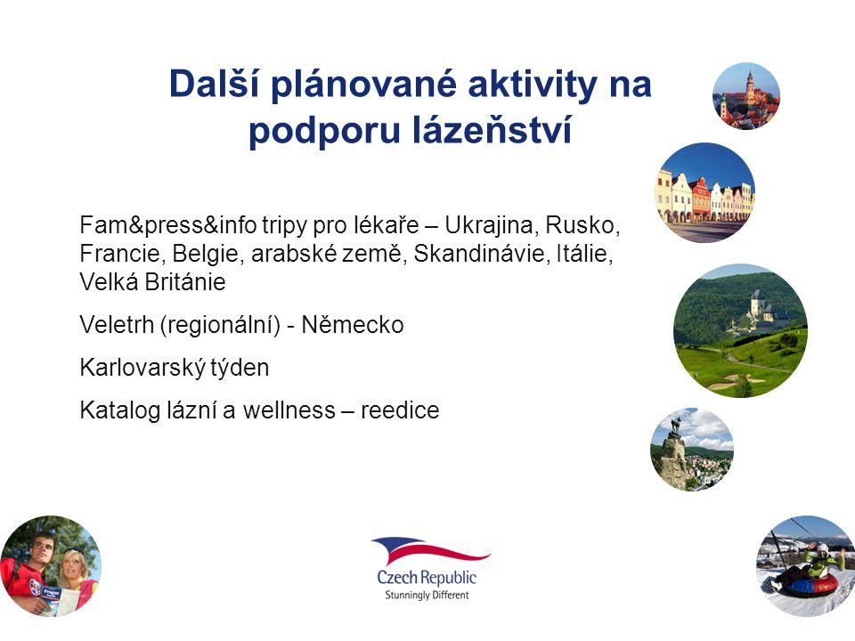Další plánované aktivity na podporu lázeňství Fam&press&info tripy pro lékaře – Ukrajina, Rusko, Francie, Belgie, arabské země, Skandinávie, Itálie, V