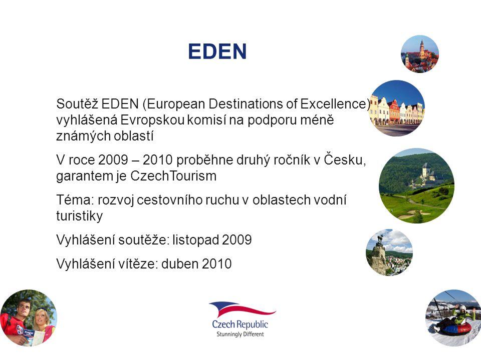 EDEN Soutěž EDEN (European Destinations of Excellence) vyhlášená Evropskou komisí na podporu méně známých oblastí V roce 2009 – 2010 proběhne druhý ro