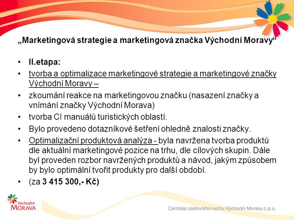 """""""Marketingová strategie a marketingová značka Východní Moravy II.etapa: tvorba a optimalizace marketingové strategie a marketingové značky Východní Moravy – zkoumání reakce na marketingovou značku (nasazení značky a vnímání značky Východní Morava) tvorba CI manuálů turistických oblastí."""