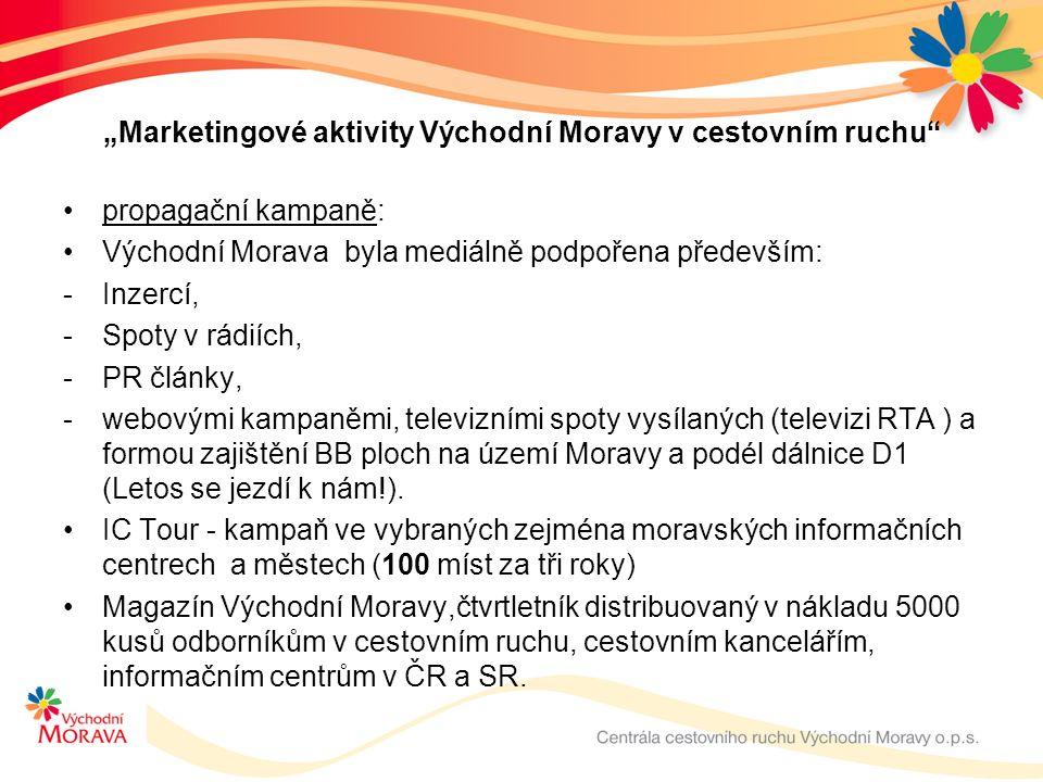 """""""Marketingové aktivity Východní Moravy v cestovním ruchu propagační kampaně: Východní Morava byla mediálně podpořena především: -Inzercí, -Spoty v rádiích, -PR články, -webovými kampaněmi, televizními spoty vysílaných (televizi RTA ) a formou zajištění BB ploch na území Moravy a podél dálnice D1 (Letos se jezdí k nám!)."""