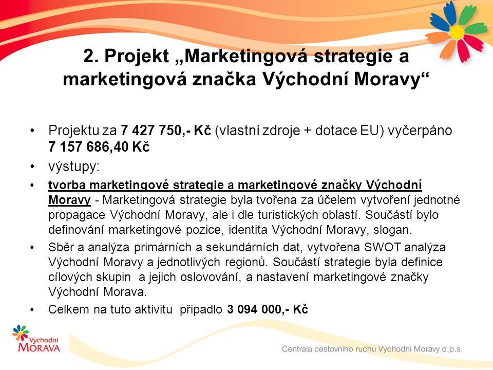 """2. Projekt """"Marketingová strategie a marketingová značka Východní Moravy"""" Projektu za 7 427 750,- Kč (vlastní zdroje + dotace EU) vyčerpáno 7 157 686,"""