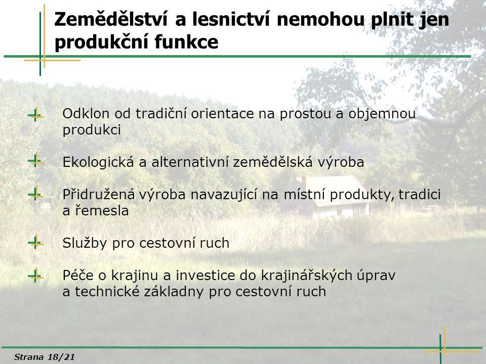 Zemědělství a lesnictví nemohou plnit jen produkční funkce Odklon od tradiční orientace na prostou a objemnou produkci Ekologická a alternativní zeměd