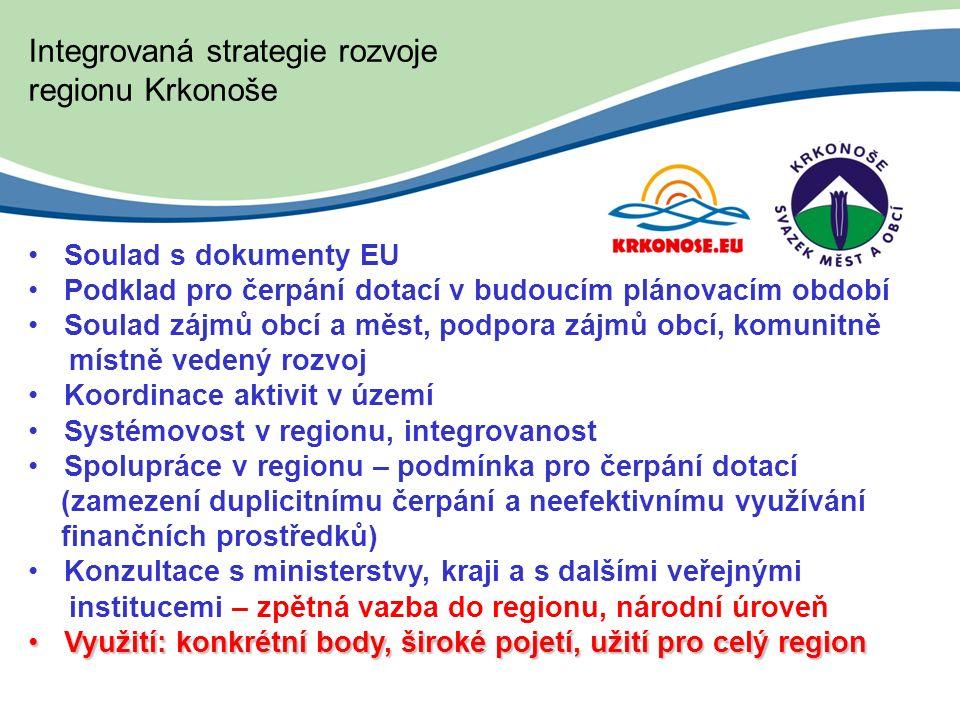 Integrovaná strategie rozvoje regionu Krkonoše Soulad s dokumenty EU Podklad pro čerpání dotací v budoucím plánovacím období Soulad zájmů obcí a měst, podpora zájmů obcí, komunitně místně vedený rozvoj Koordinace aktivit v území Systémovost v regionu, integrovanost Spolupráce v regionu – podmínka pro čerpání dotací (zamezení duplicitnímu čerpání a neefektivnímu využívání finančních prostředků) Konzultace s ministerstvy, kraji a s dalšími veřejnými institucemi – zpětná vazba do regionu, národní úroveň Využití: konkrétní body, široké pojetí, užití pro celý regionVyužití: konkrétní body, široké pojetí, užití pro celý region