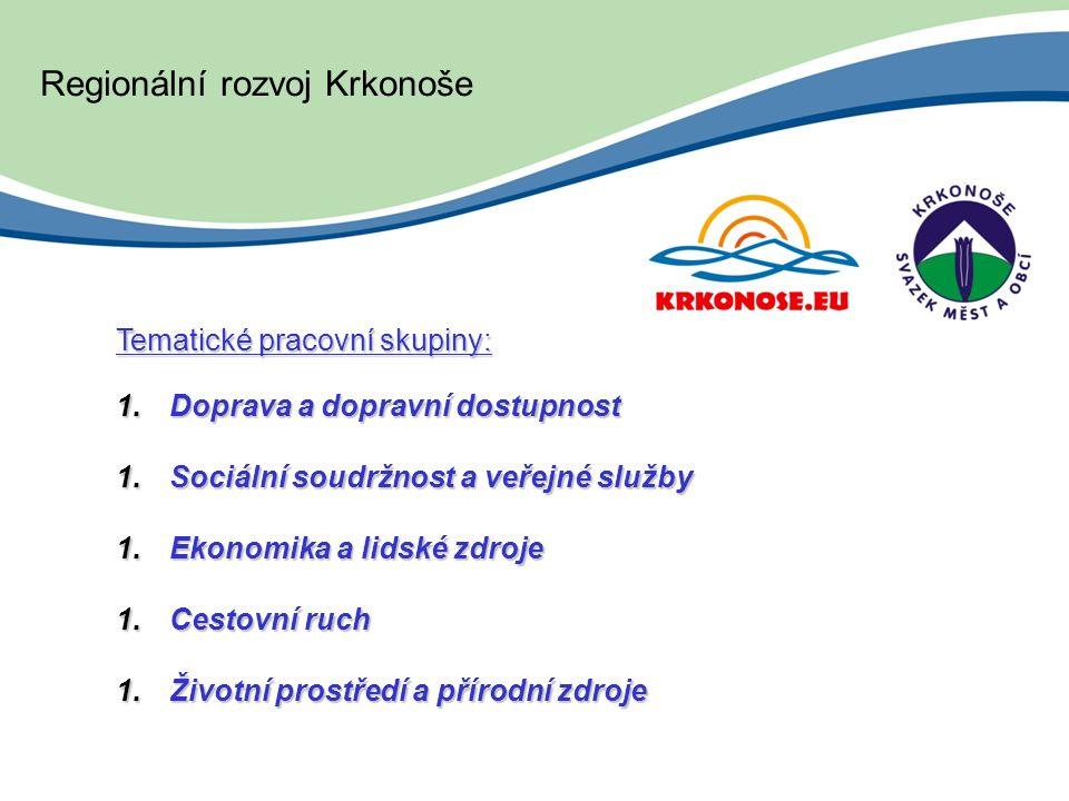 Tematické pracovní skupiny: 1.Doprava a dopravní dostupnost 1.Sociální soudržnost a veřejné služby 1.Ekonomika a lidské zdroje 1.Cestovní ruch 1.Životní prostředí a přírodní zdroje Regionální rozvoj Krkonoše