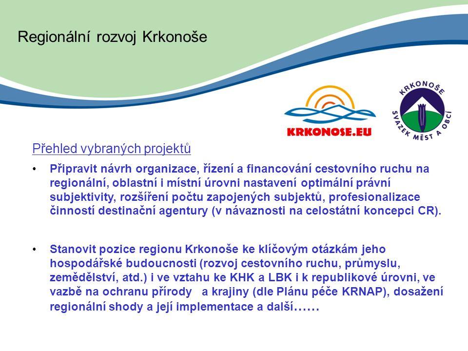 Regionální rozvoj Krkonoše Přehled vybraných projektů Připravit návrh organizace, řízení a financování cestovního ruchu na regionální, oblastní i místní úrovni nastavení optimální právní subjektivity, rozšíření počtu zapojených subjektů, profesionalizace činností destinační agentury (v návaznosti na celostátní koncepci CR).