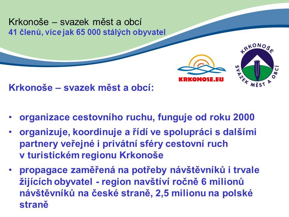 Krkonoše – svazek měst a obcí 41 členů, více jak 65 000 stálých obyvatel Krkonoše – svazek měst a obcí: organizace cestovního ruchu, funguje od roku 2000 organizuje, koordinuje a řídí ve spolupráci s dalšími partnery veřejné i privátní sféry cestovní ruch v turistickém regionu Krkonoše propagace zaměřená na potřeby návštěvníků i trvale žijících obyvatel - region navštíví ročně 6 milionů návštěvníků na české straně, 2,5 milionu na polské straně