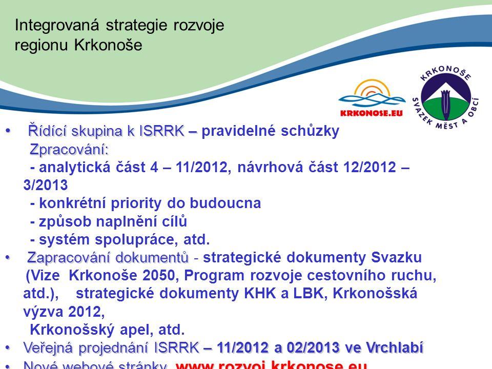 Integrovaná strategie rozvoje regionu Krkonoše Řídící skupina k ISRRK – Řídící skupina k ISRRK – pravidelné schůzky Zpracování: Zpracování: - analytická část 4 – 11/2012, návrhová část 12/2012 – 3/2013 - konkrétní priority do budoucna - způsob naplnění cílů - systém spolupráce, atd.