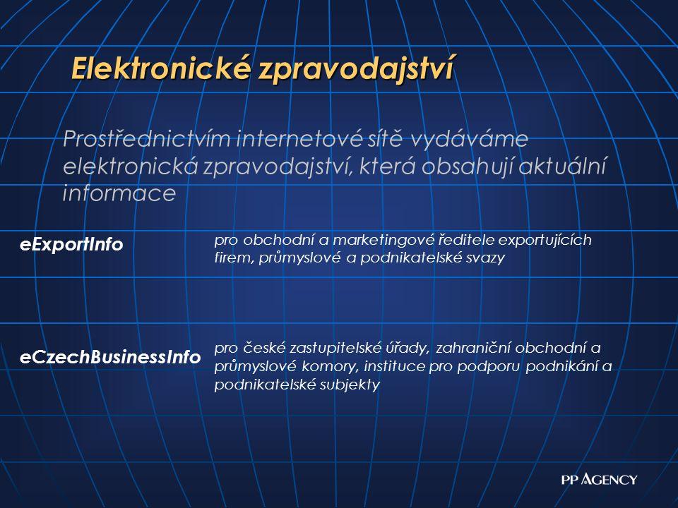 Elektronické zpravodajství Elektronické zpravodajství pro obchodní a marketingové ředitele exportujících firem, průmyslové a podnikatelské svazy pro české zastupitelské úřady, zahraniční obchodní a průmyslové komory, instituce pro podporu podnikání a podnikatelské subjekty eExportInfo eCzechBusinessInfo Prostřednictvím internetové sítě vydáváme elektronická zpravodajství, která obsahují aktuální informace