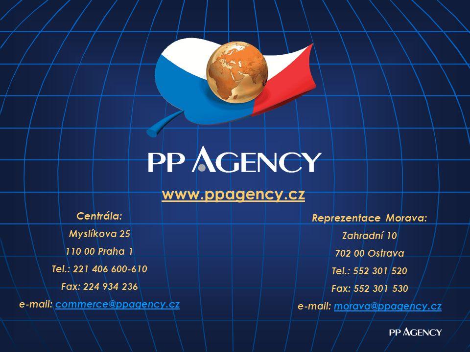 Centrála: Myslíkova 25 110 00 Praha 1 Tel.: 221 406 600-610 Fax: 224 934 236 e-mail: commerce@ppagency.czcommerce@ppagency.cz Reprezentace Morava: Zahradní 10 702 00 Ostrava Tel.: 552 301 520 Fax: 552 301 530 e-mail: morava@ppagency.czmorava@ppagency.cz www.ppagency.cz
