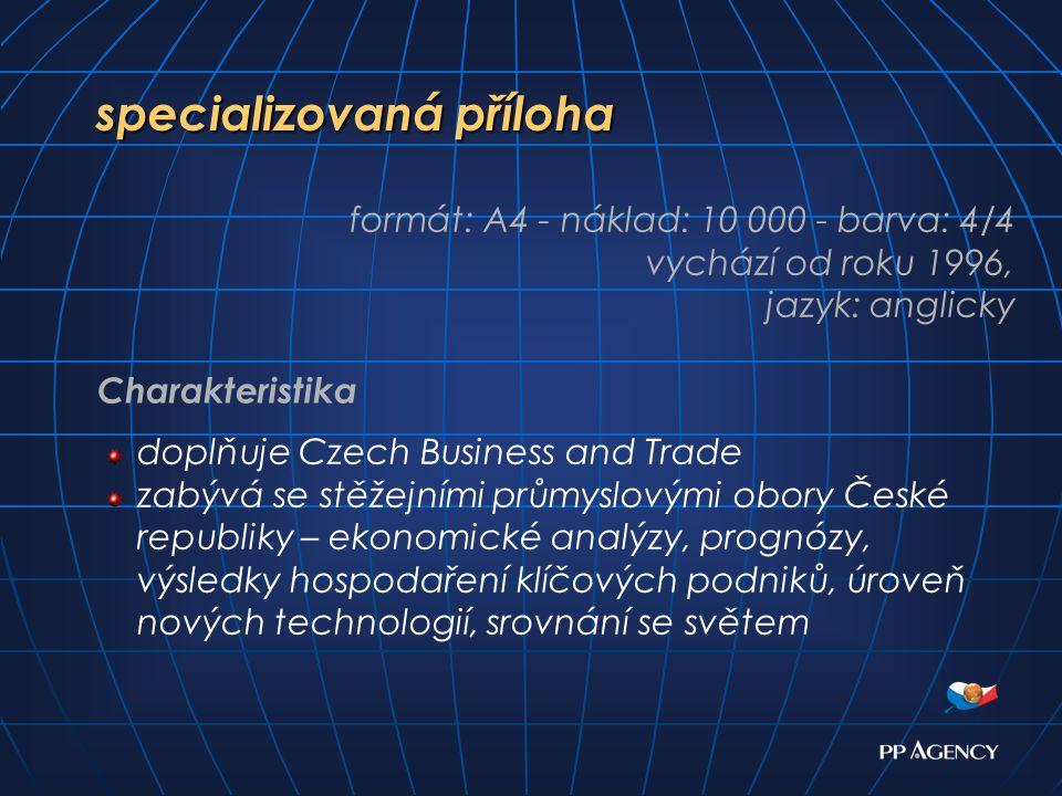 specializovaná příloha doplňuje Czech Business and Trade zabývá se stěžejními průmyslovými obory České republiky – ekonomické analýzy, prognózy, výsledky hospodaření klíčových podniků, úroveň nových technologií, srovnání se světem formát: A4 - náklad: 10 000 - barva: 4/4 vychází od roku 1996, jazyk: anglicky Charakteristika