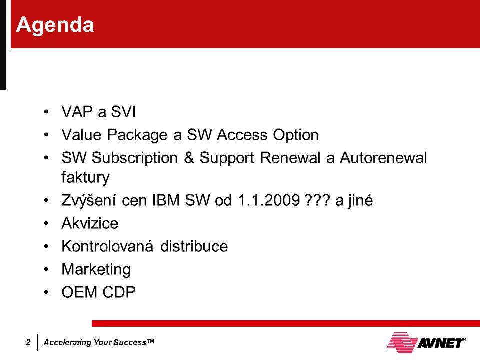 Accelerating Your Success™ 2 Agenda VAP a SVI Value Package a SW Access Option SW Subscription & Support Renewal a Autorenewal faktury Zvýšení cen IBM
