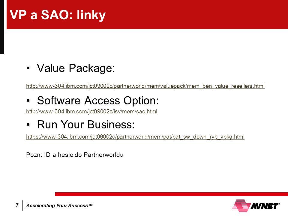 Accelerating Your Success™ 7 VP a SAO: linky Value Package: http://www-304.ibm.com/jct09002c/partnerworld/mem/valuepack/mem_ben_value_resellers.html S